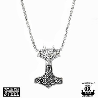 NORTHERN VIKING JEWELRY Fenrir Wolfhead Thorin Vasara -riipus