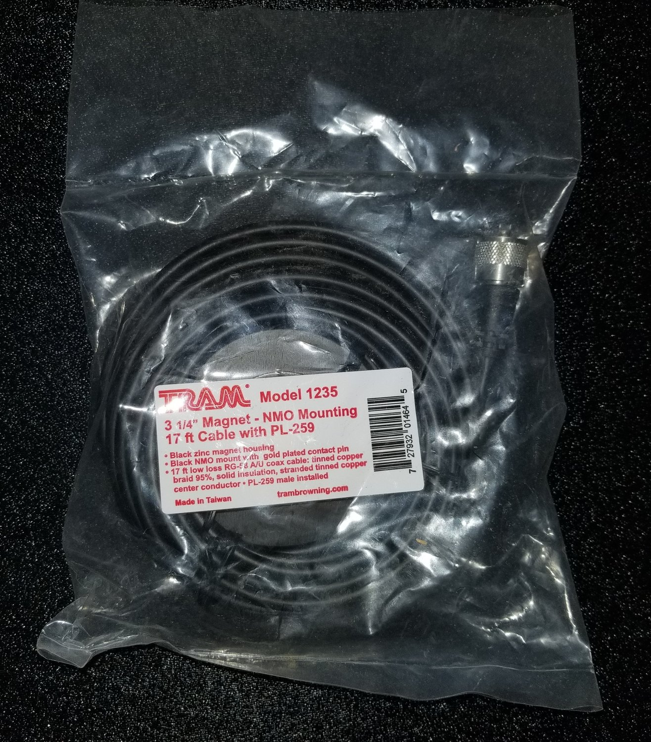 3 1/4 Magnet NMO Mount 17' Cable w/ PL-259