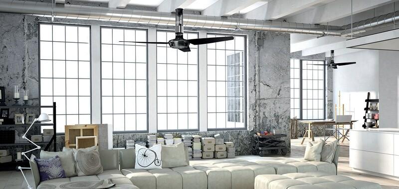 Ventilador de techo con luz MOMO Design (Dto. 30% incluido). Ventilador personalizable: Elige el tamaño y color de las aspas, motor y extensión a techo.