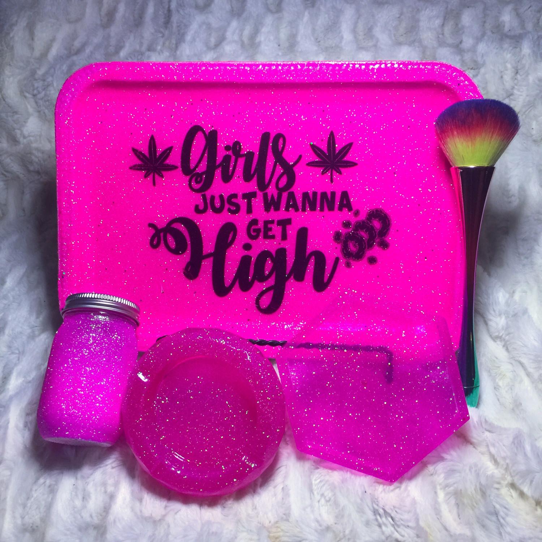 Girls Just Wanna...Pink Glitter Rolling /Vanity Tray Set