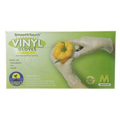 Medium Disposable Vinyl Gloves - 100 count