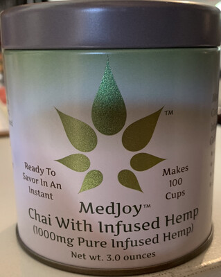 MedJoy™ Chai with CBD (1000mg, CBD per 3 oz. tin) - Serves 100 8 oz. cups with approx 10mg of CBD per cup!
