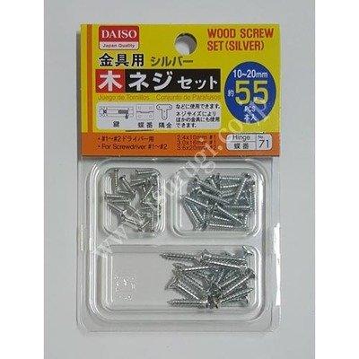 Wood Screw Set Silver 55pcs