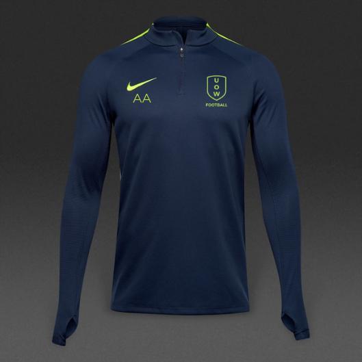 UOWFC Nike Drill 1/4 Zip Top - Navy/Volt