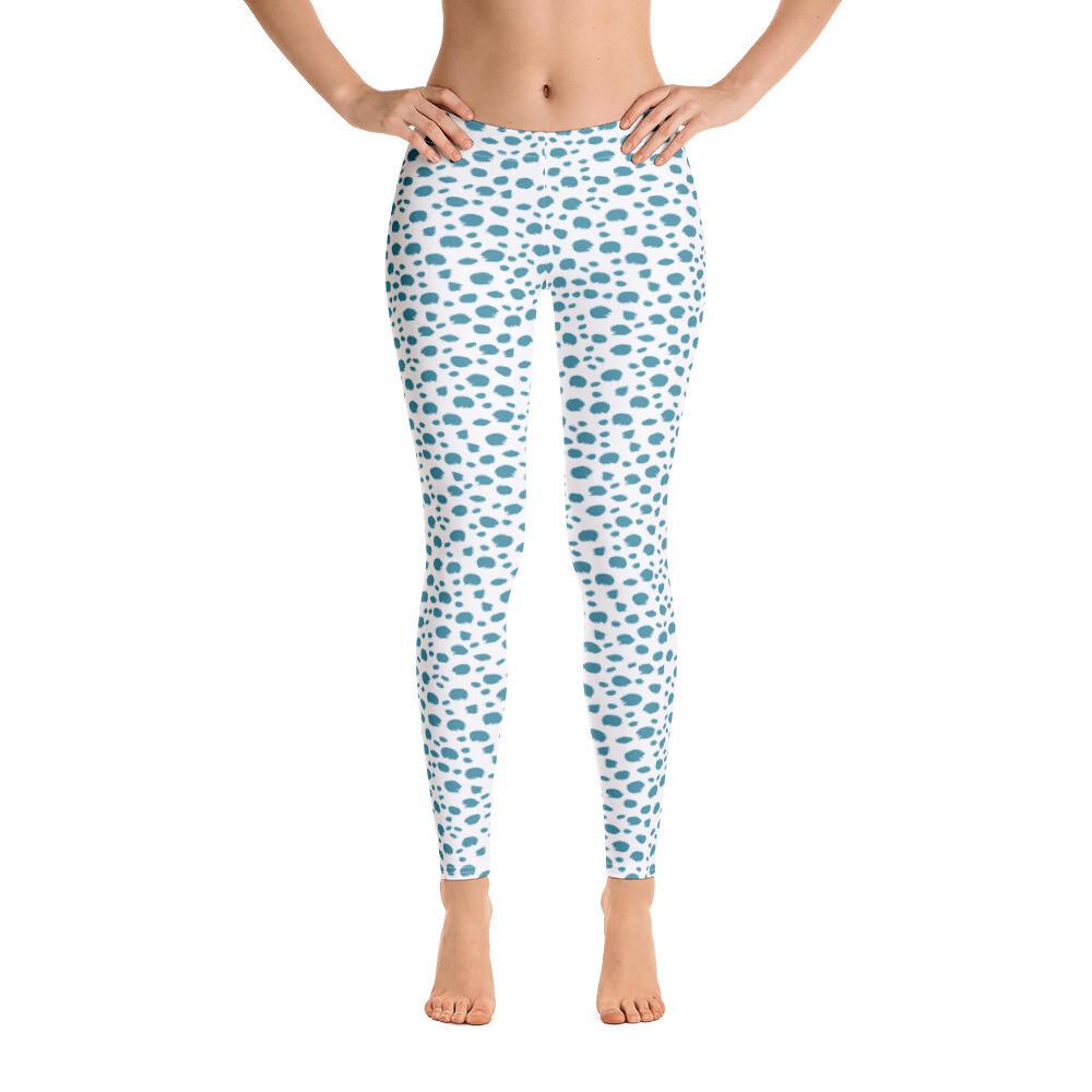Light Blue Dotted Animal Skin Style Leggings for Women USA