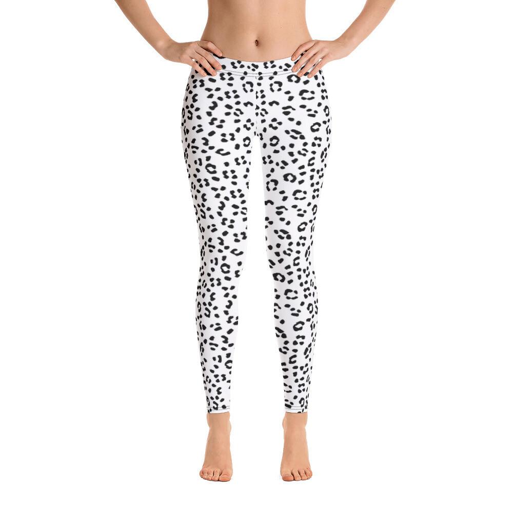 Black Dotted Animal Skin Leggings for women full Print USA
