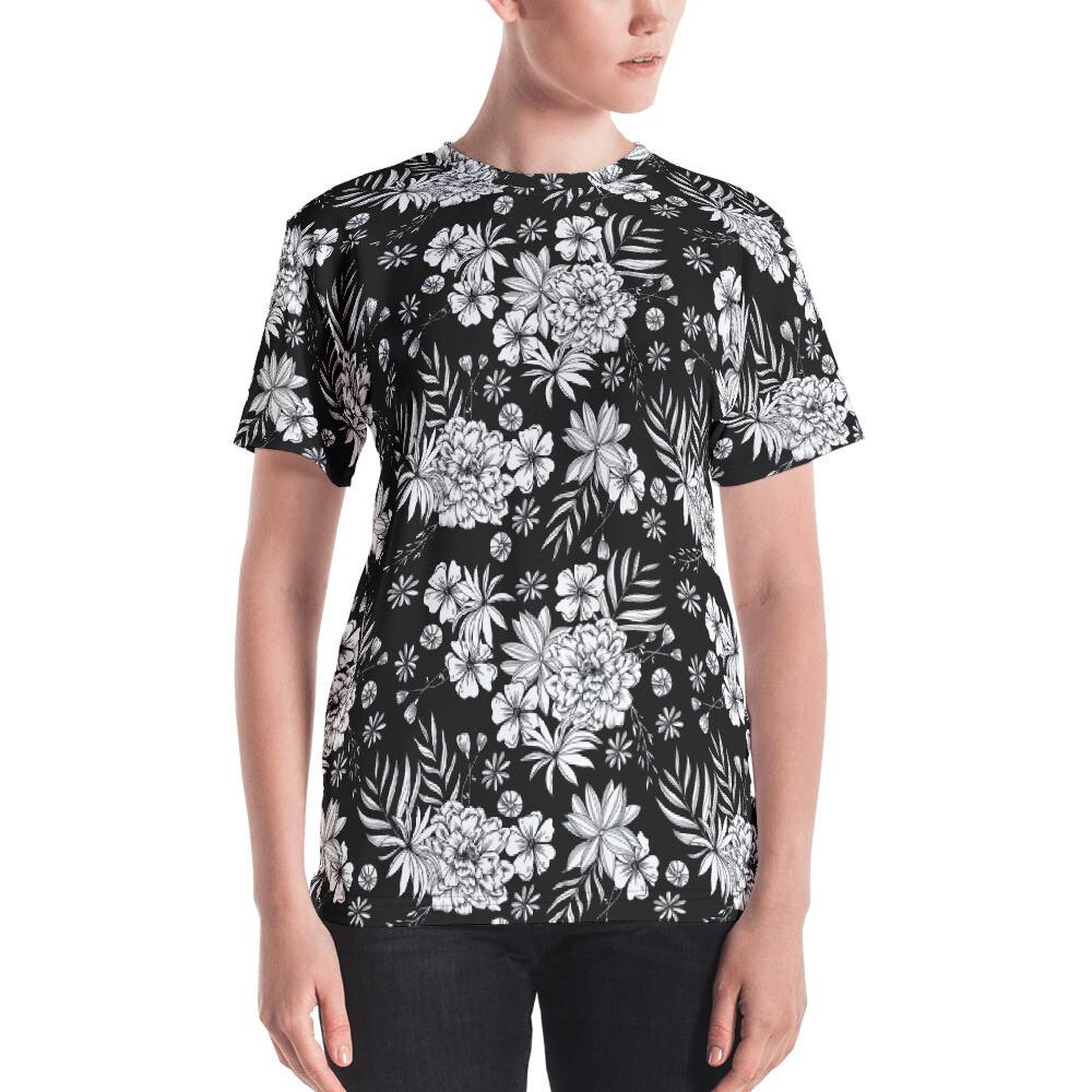 Ruka Black White Floral Full Printed Women's T-shirt