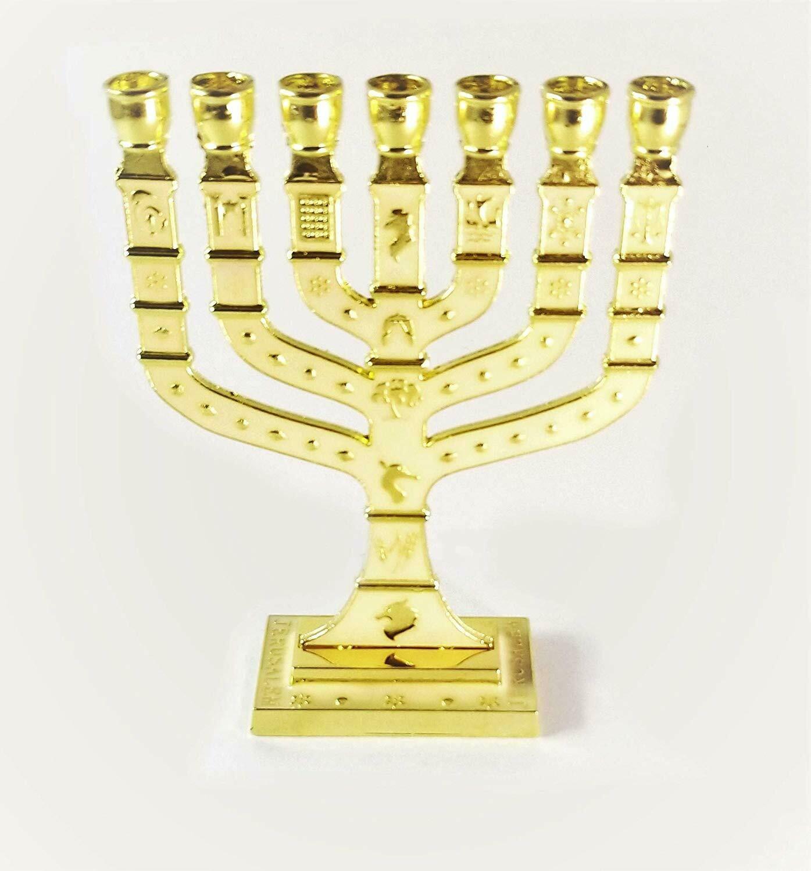 Miniature Gold Enameled Jewish Menorah 7 Branch