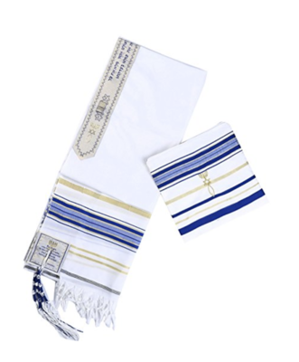 Royal blue and Gold New Convenant Messianic Tallit Prayer Shawl with Matching bag by Star Gifts TM