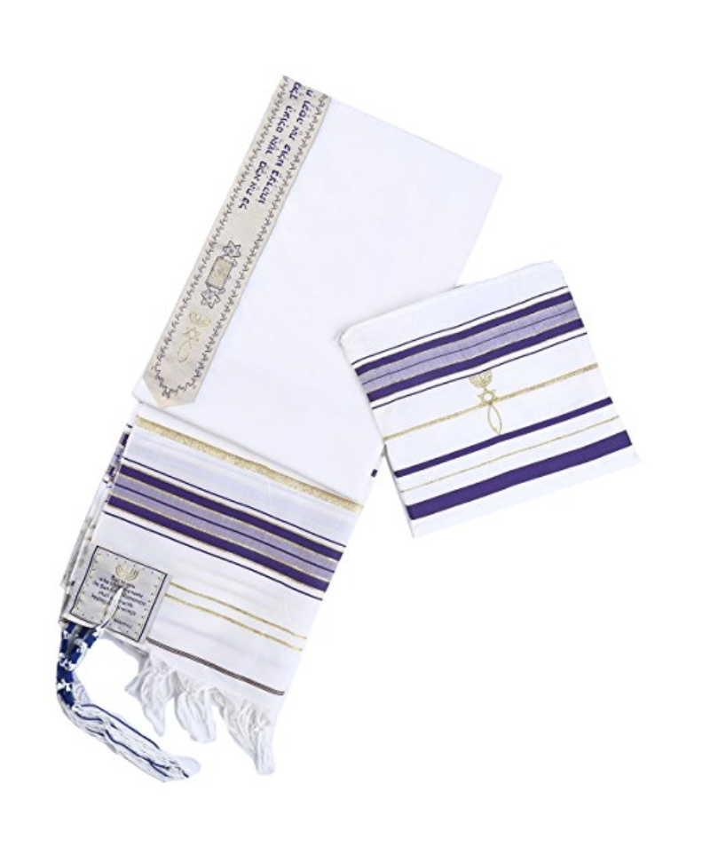 Purple New Convenant Messianic Tallit Prayer Shawl with Matching bag by Star Gifts