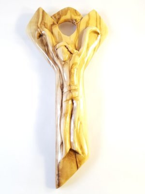 Artistically Carved Olive Wood Crucifix