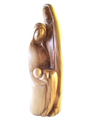 Holy Family Olive Wood Contemporary Style Statue from Bethlehem
