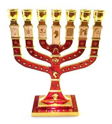 Miniature Crimson Enameled Jewish Menorah 7 Branch