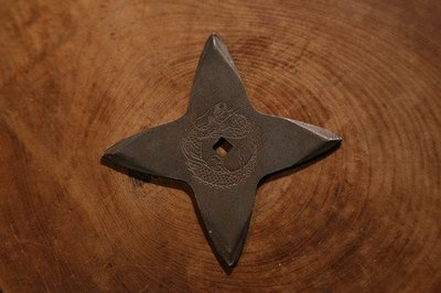 Black fumigation Shuriken (Ninja star) : cross 黒燻し手裏剣 十字