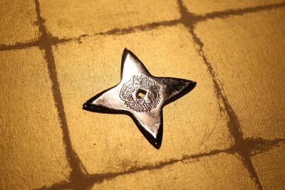 Chrome plating Shuriken (Ninja star):Cross クロームメッキ手裏剣 十字
