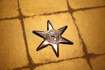 Chrome plating Shuriken (Ninja star):Six points クロームメッキ手裏剣 六方
