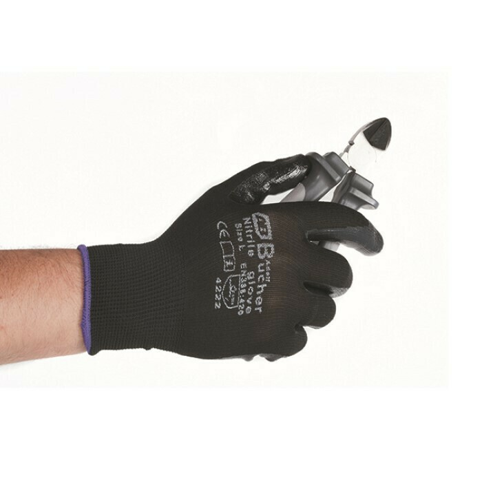 Перчатки нейлоновые с нитриловым покрытием Черные Adolf Bucher, XL