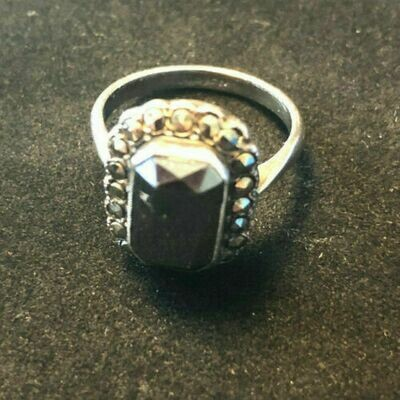 Vintage sterling silver and marcasite ring, circa 1960's with large sapphire style stone