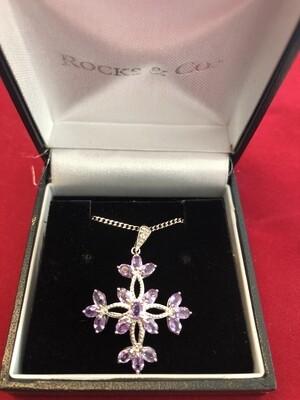 9k White Gold Purple Sapphire & Small Diamond Necklace