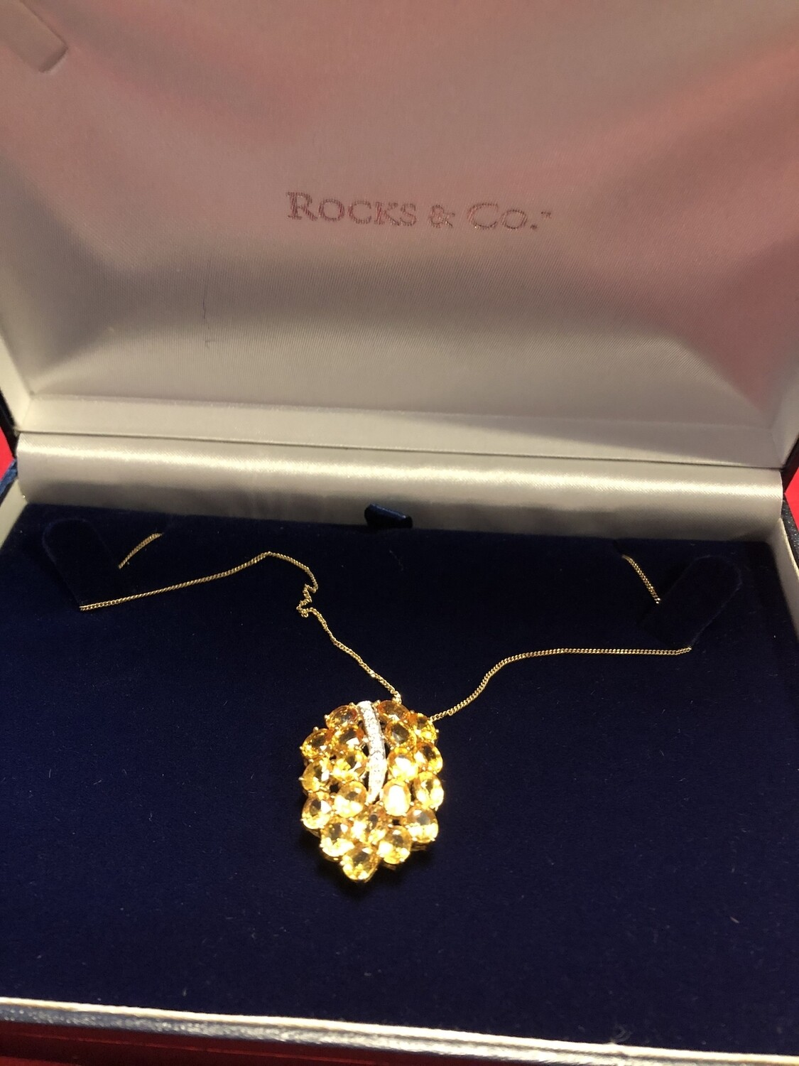 9k Yellow Gold & Diamond Necklace with Yellow Sapphires set in stunning mount
