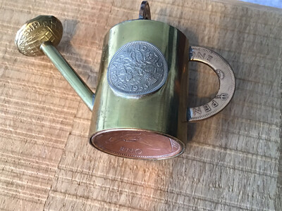 Unique Half Crown, Sixpence, Penny - Watering Can Ornament Metalwork