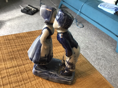 Antique Delft Flow Blue Porcelain Figures - Kissing Boy & Girl - marked 1803