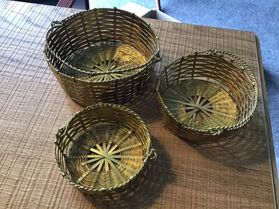 Set of collectable vintage 3 Brass wound wire baskets - tourist piece