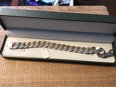 Heavy .925 Silver mans link chain bracelet - 65g of Silver