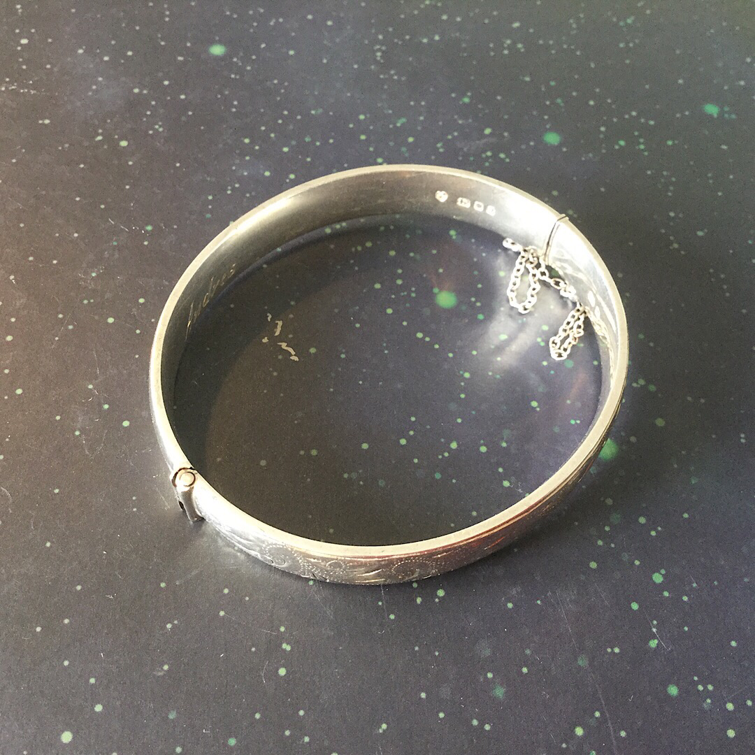 Silver (1983) Hallmarked Bracelet with Mechanical Catch and Chain