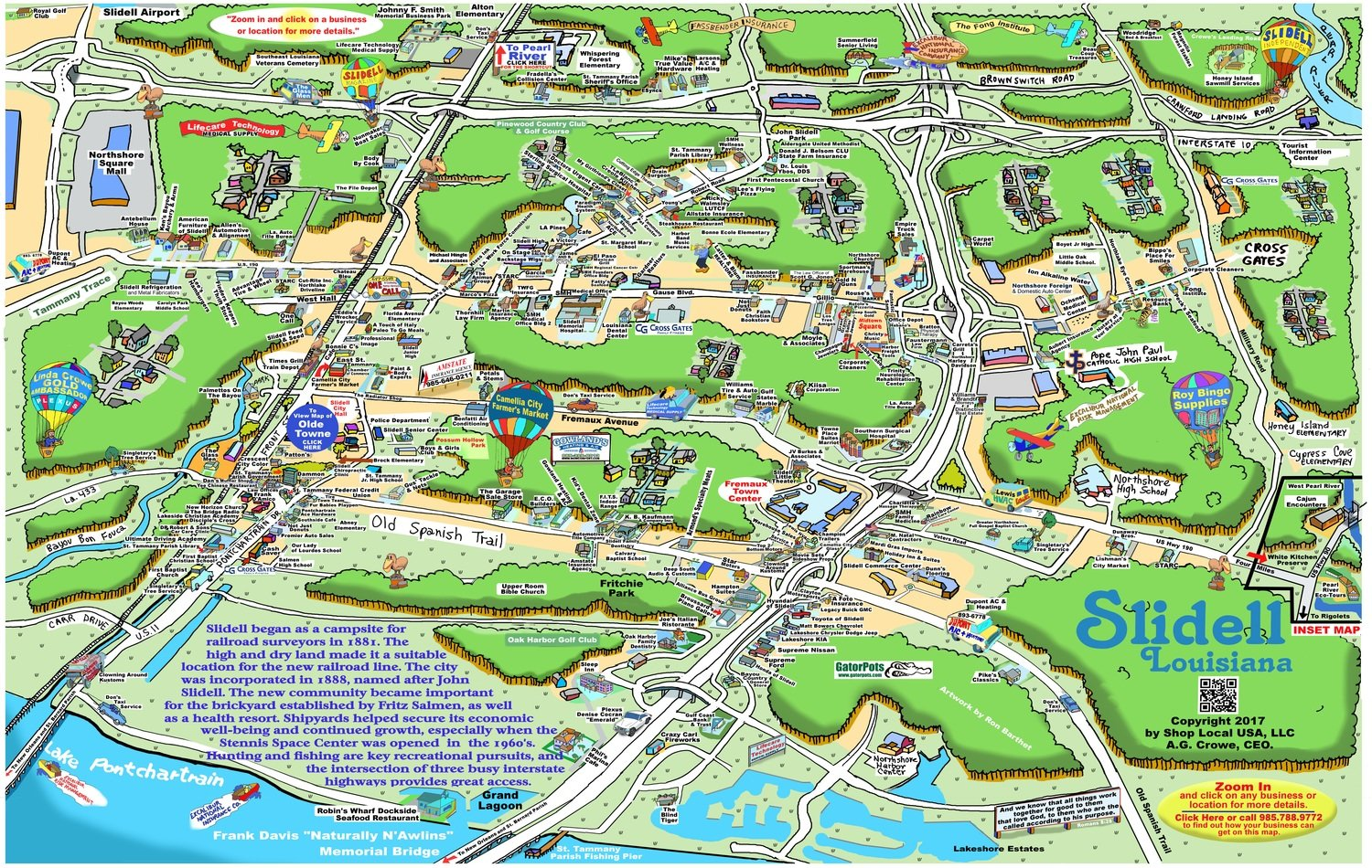 """24"""" X 36"""" Full Color Caricature Rendering of Slidell, LA"""