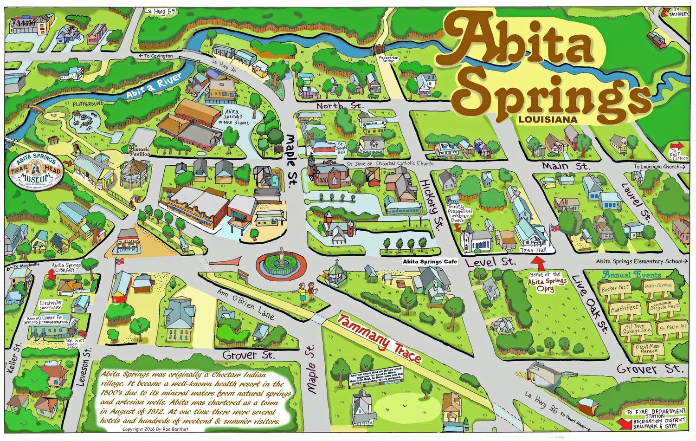 "24"" X 36"" Full Color Caricature Rendering of Historic Abita Springs, LA"