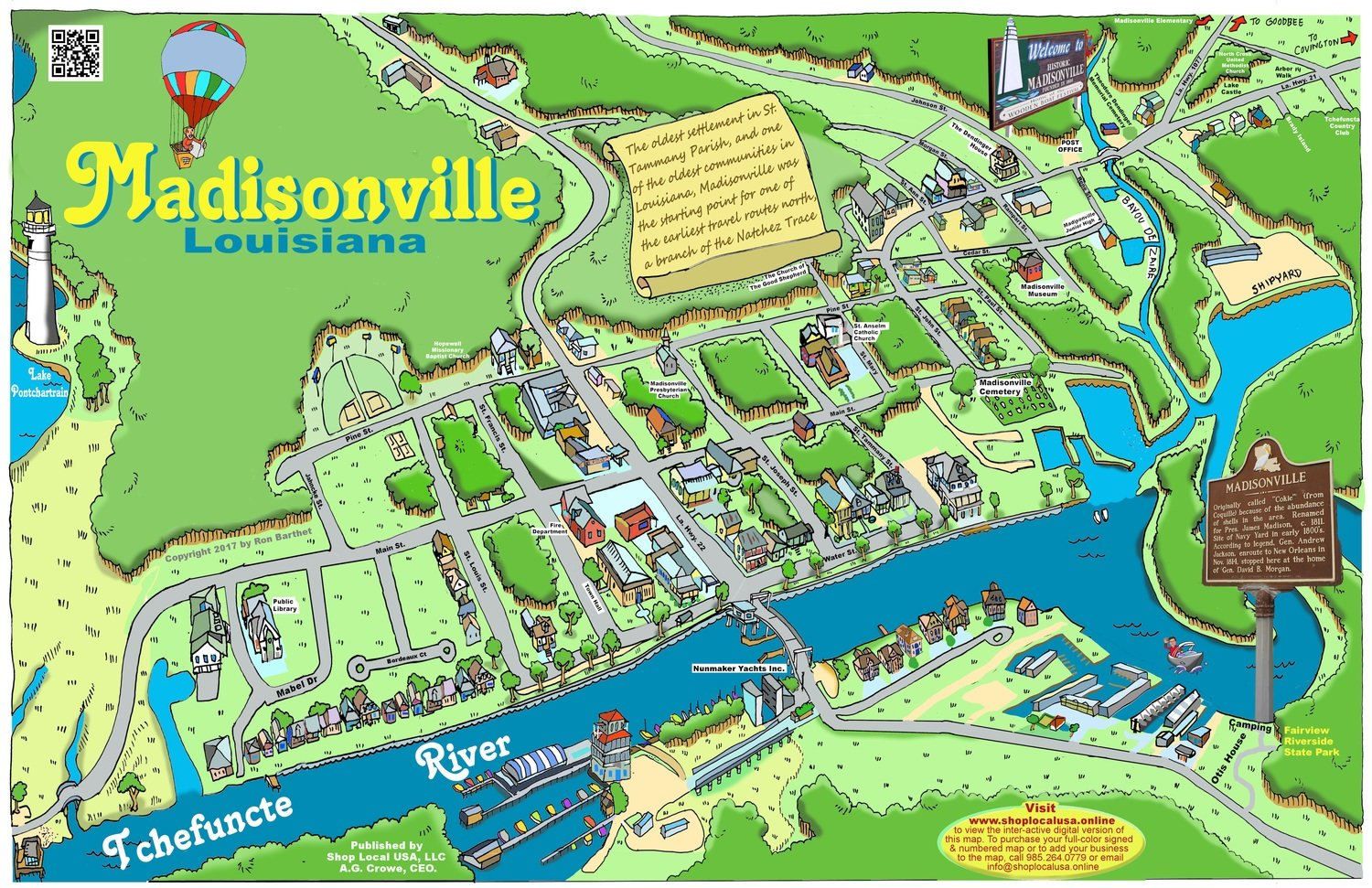 "11"" X 17"" Full Color Caricature Rendering of Historic Madisonville, LA"