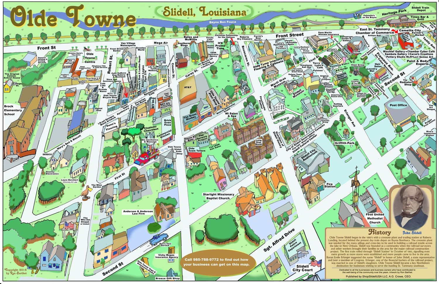 """11"""" X 17"""" Full Color Caricature Rendering of Historic Olde Towne Slidell, LA"""