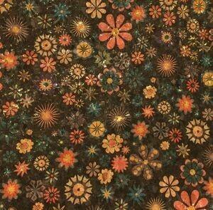 Kork mørk bakgrunn med fargerike blomster