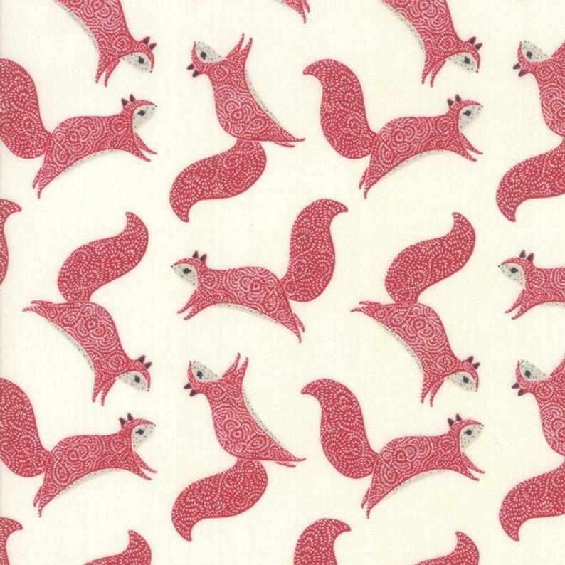 Squirrels in Cream Red