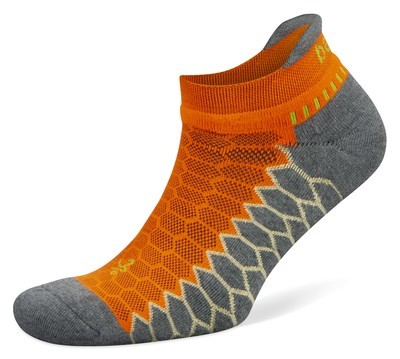 Silver Antimicrobial NoShow Compression Fit Running Socks Neon Orange/Grey
