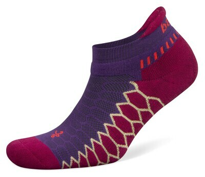 Silver Antimicrobial NoShow Compression Fit Running Socks Bright UltraViolet Berry