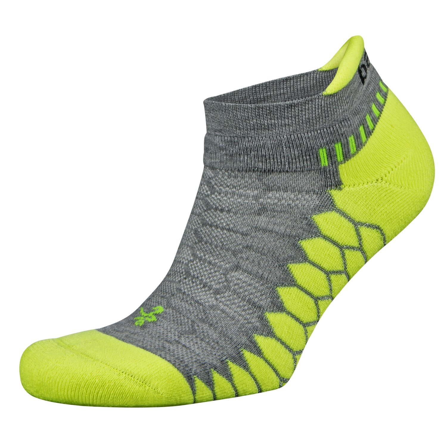 Silver Antimicrobial NoShow Compression Fit Running Socks Neon/Grey