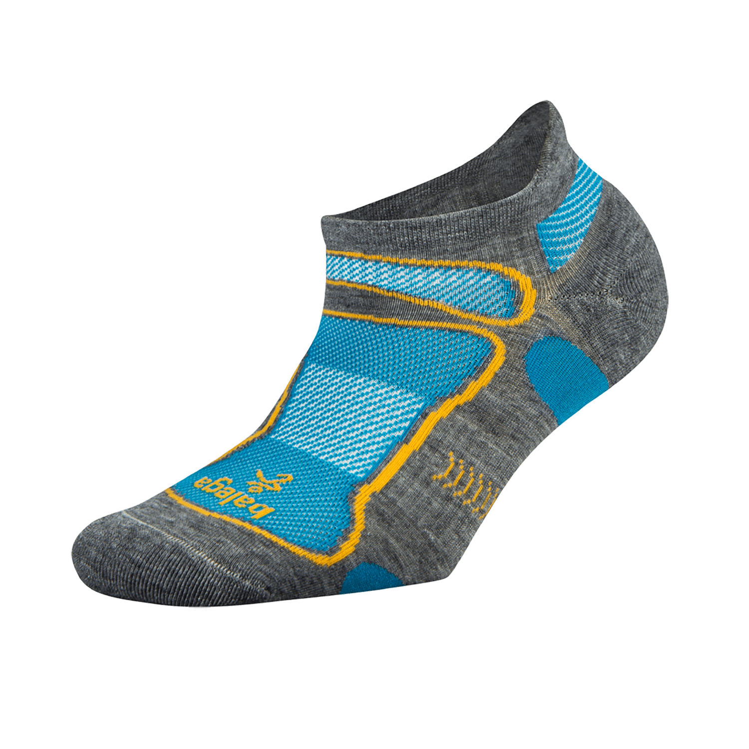 Ultra Light No Show Technical Running Sock - MidGrey/Aqua