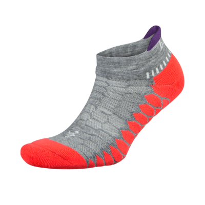 Silver Antimicrobial NoShow Compression Fit Running Socks Neon Coral