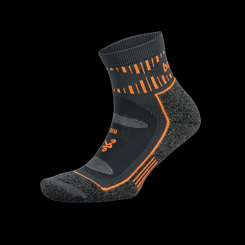 Blister Resist Quarter Running Sock: Grey/Orange