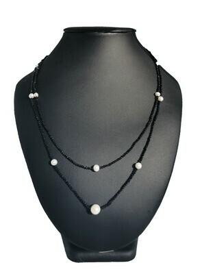 Fekete-fehér 2 soros - édesvízi igazgyöngy nyaklánc