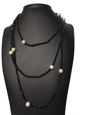 Fekete-fehér spinell - édesvízi igazgyöngy nyaklánc