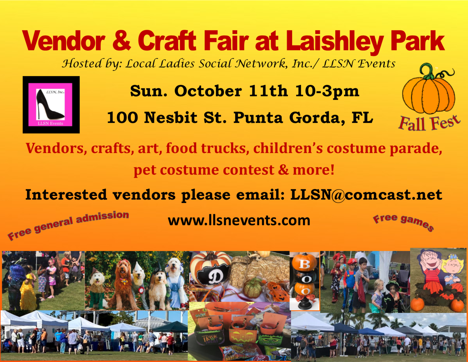 Vendor & Craft Fair at Laishley Park- October 11th- Fall Fest