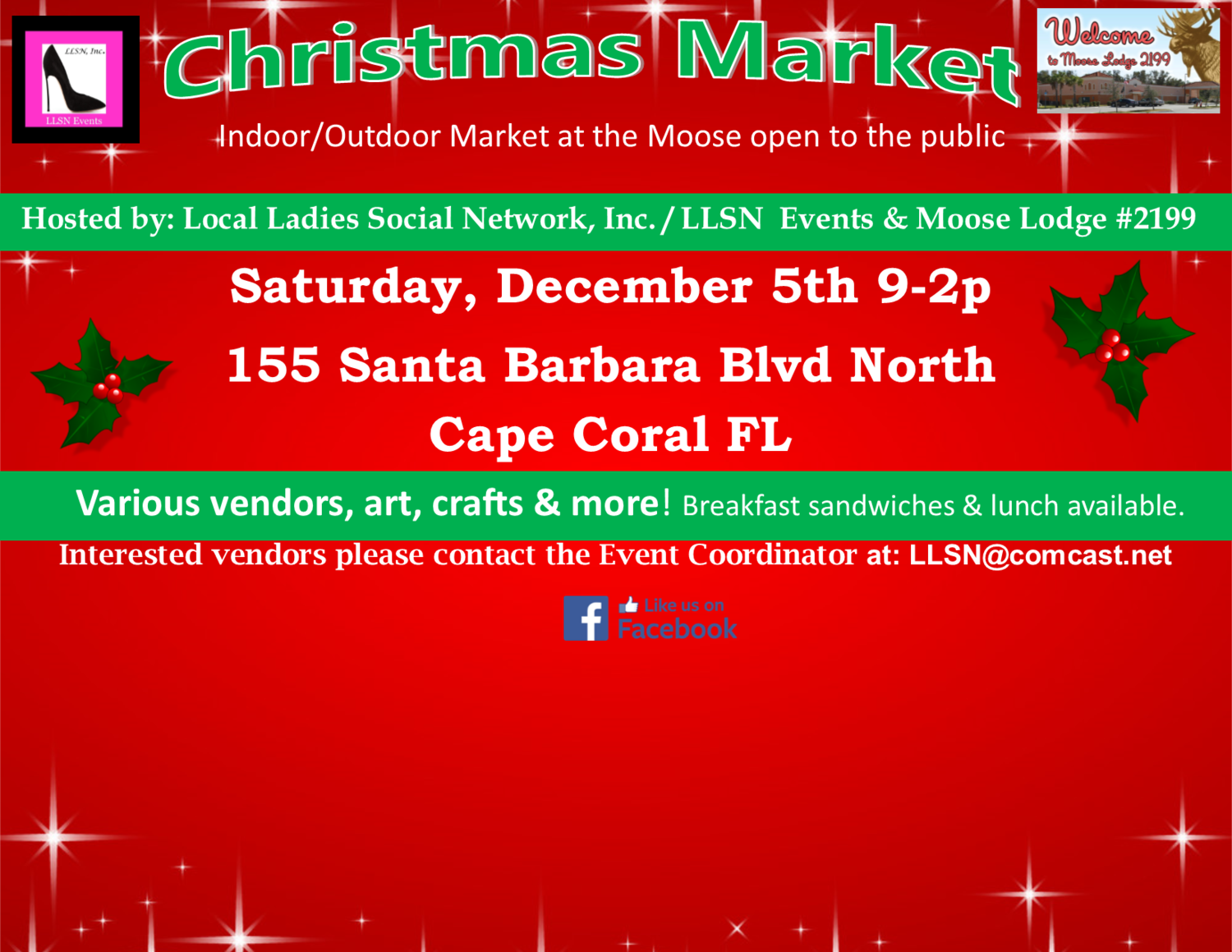 Christmas Market at the Moose- December 5th 2020 INSIDE SPOT- Includes table & chairs