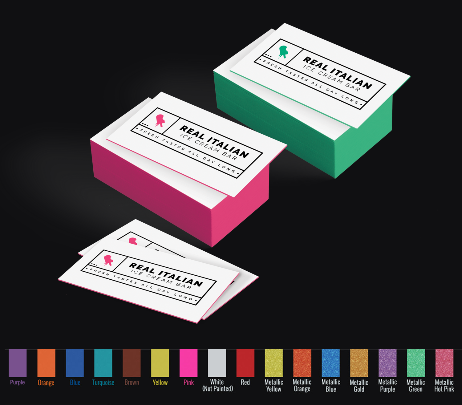 32pt Uncoated Colored Edge Cards