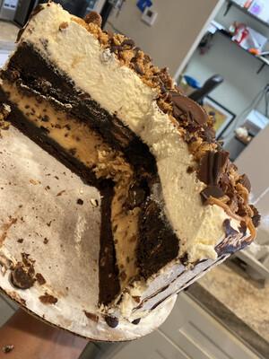 Peanut Butter Cup Brookie Cake