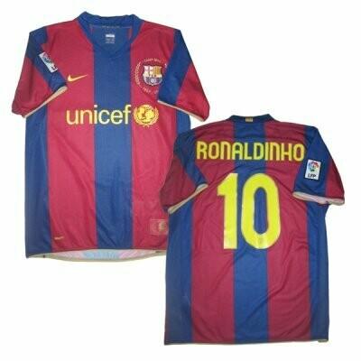 Ronaldinho FC Barcelona 2007-2008 Retro Jersey #10 (Replica)