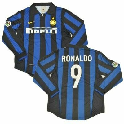 1998-1999 Ronaldo Inter Milan Retro Long Sleeve Jersey Shirt #9 (Replica)