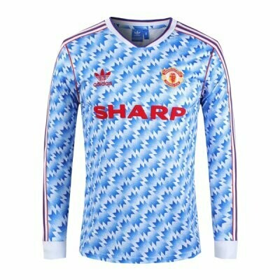 Manchester United Away Long Sleeve Retro Jersey 1990-92 (Replica)